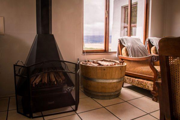 Berseba farm indoors with fireplace