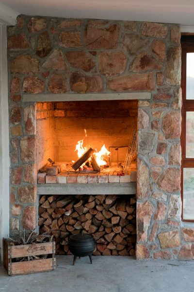 Fireplace at the Hut